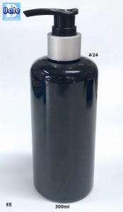 ขวดพลาสติก + ปั้มเป็ดดำขอบเงินด้าน EE-300ml-pumpped-black-S