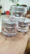 k0042-10g-silver กระปุกกลมตรงถ้วยเงินด้านใส ขอบเงิน 10 g