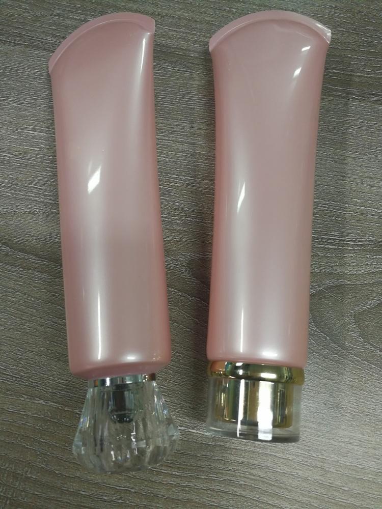 หลอดครีมหลอดสีชมพู 150ml ก้น + ฝาอะคริลิคสวยๆ